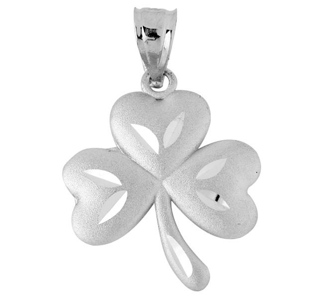 White Gold Large Clover Celtic Pendant
