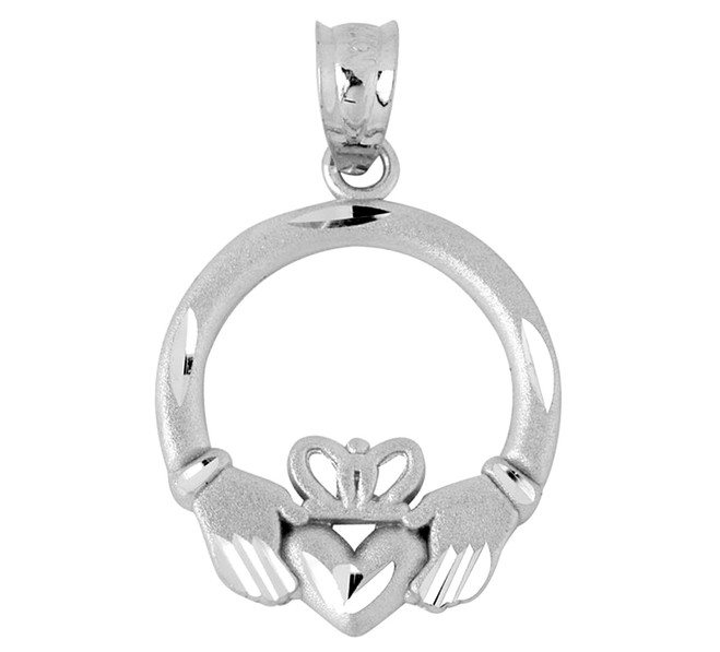 White Gold Diamond Cut Claddagh Pendant