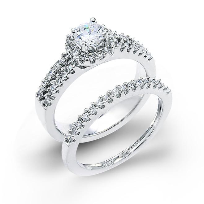 14k White Gold 3 Row Diamond Halo Engagement Set of 2 Rings