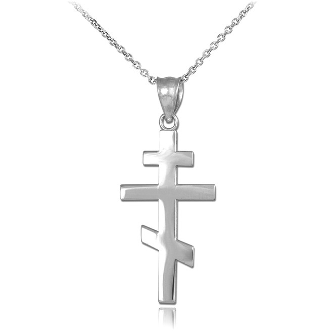 White Gold Plain Russian Orthodox Cross Pendant Necklace