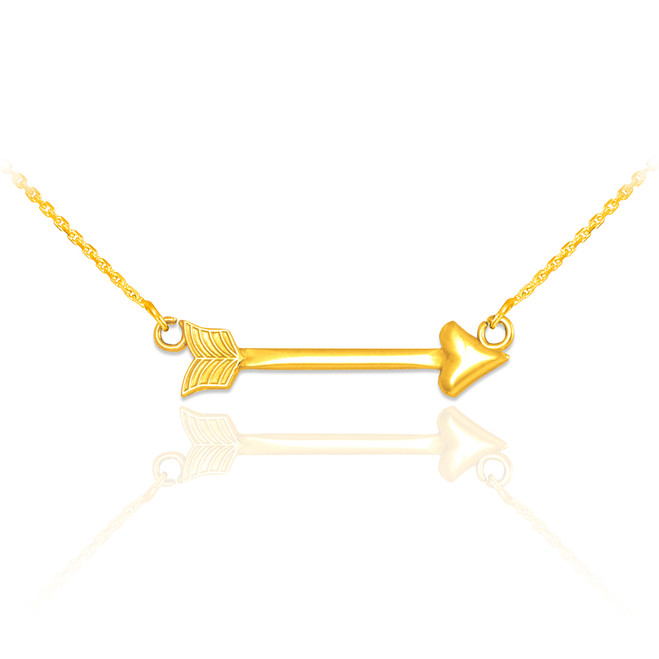 14k Gold Sideways Arrow Necklace