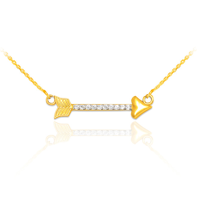 14k Gold CZ Studded Arrow Necklace