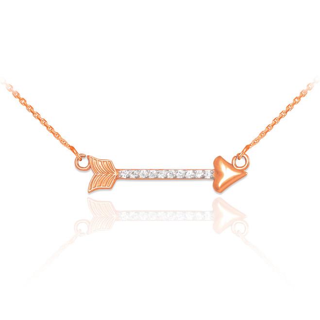 14k Rose Gold CZ Studded Arrow Necklace