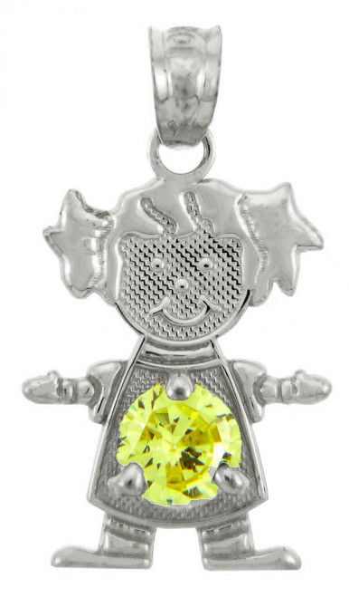 White Gold Baby Girl CZ Yellow Topaz  Birthstone Charm