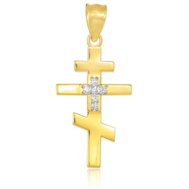 Diamond studded yellow gold Russian cross