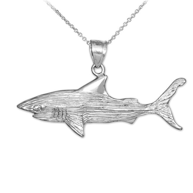 Sterling Silver Shark Pendant Necklace