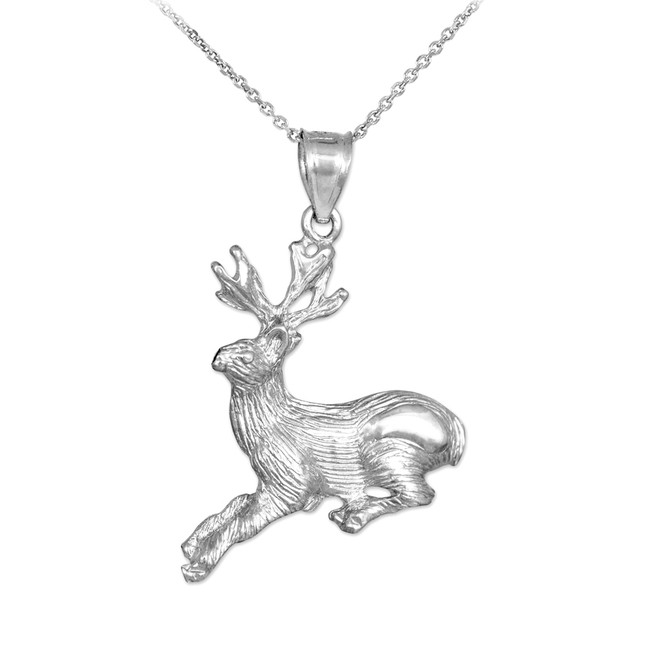 Sterling Silver Deer Charm Pendant Necklace