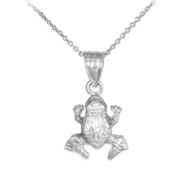 Textured White Gold Frog Charm Pendant Necklace