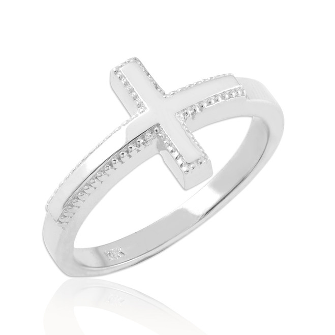 Solid White Gold Sideways Cross Ring