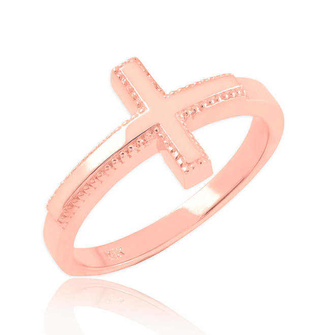 Solid Rose Gold Sideways Cross Ring