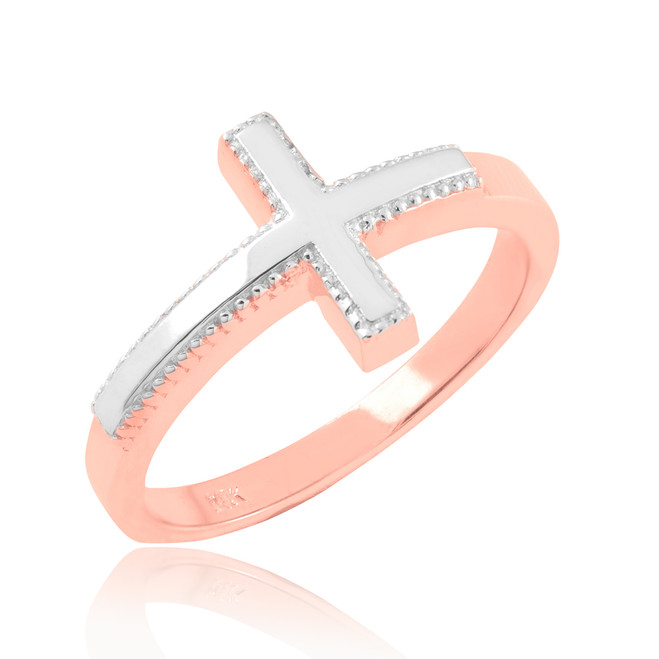 Two-tone Solid Rose Gold Sideways Cross Ring