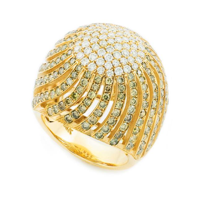 14K Yellow Gold Diamond Pave Cocktail Ring