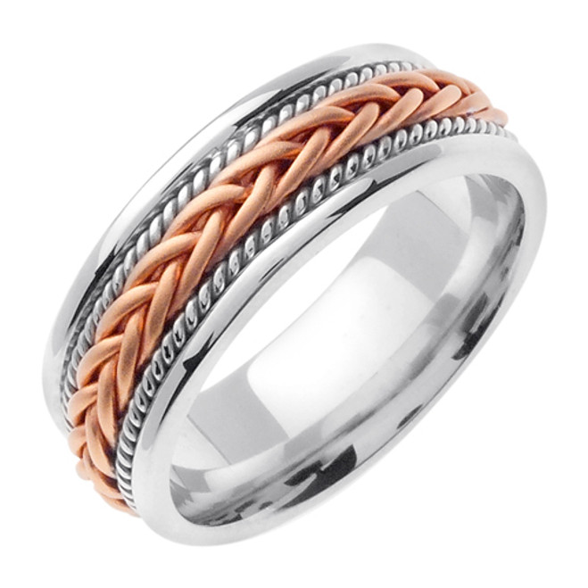 Two-Tone Rose Gold Hand Braided Wedding Band