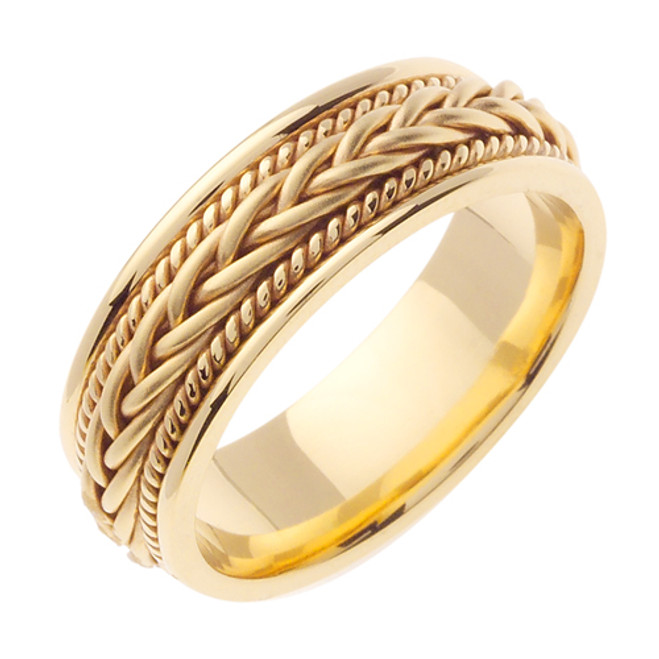 14K Yellow Gold Hand Braided Wedding Band