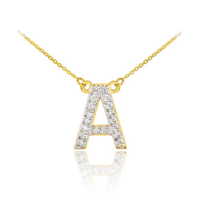 "14k Gold Letter ""A"" Diamond Initial Monogram Necklace"