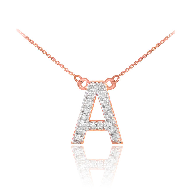 "14k Rose Gold Letter ""A"" Diamond Initial Monogram Necklace"