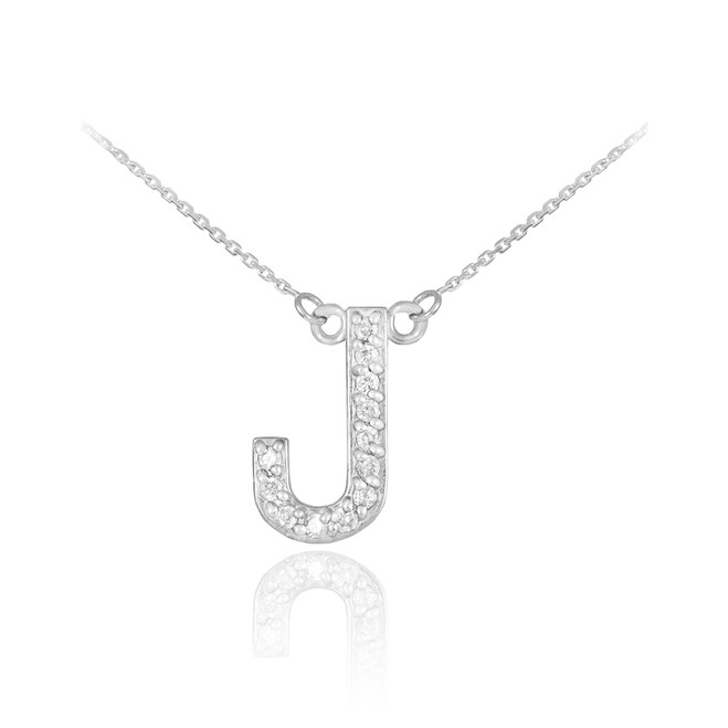 "14k White Gold Letter ""J"" Diamond Initial Necklace"