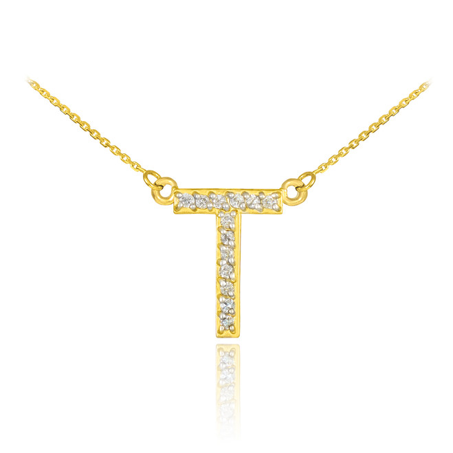 "14k Gold Letter ""T"" Diamond Initial Necklace"