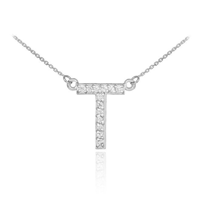 "14k White Gold Letter ""T"" Diamond Initial Necklace"