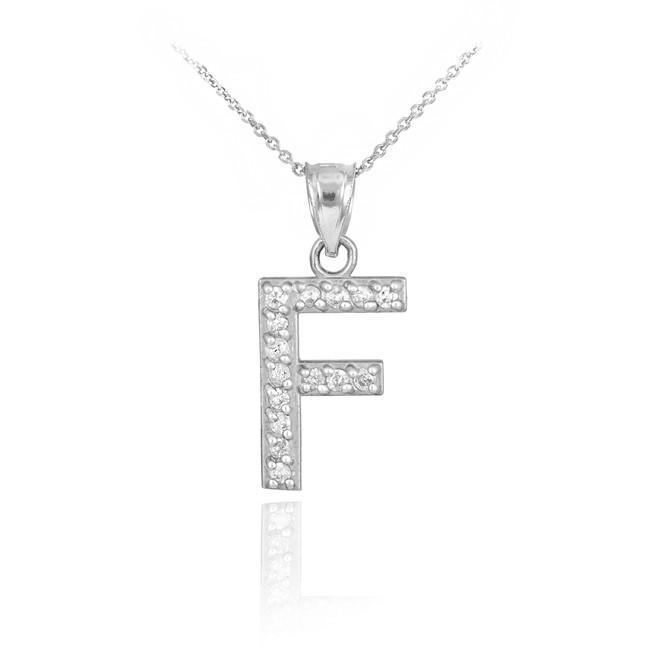 "White Gold Letter ""F"" Diamond Initial Pendant Necklace"