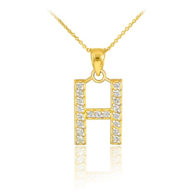 "Gold Letter ""H"" Diamond Initial Pendant Necklace"