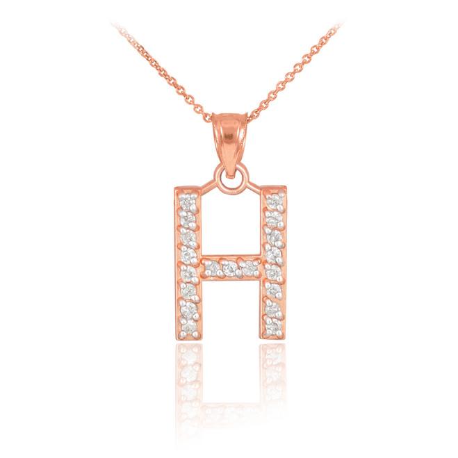 "Rose Gold Letter ""H"" Diamond Initial Pendant Necklace"