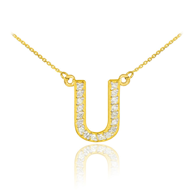 "14k Gold Letter ""U"" Diamond Initial Necklace"