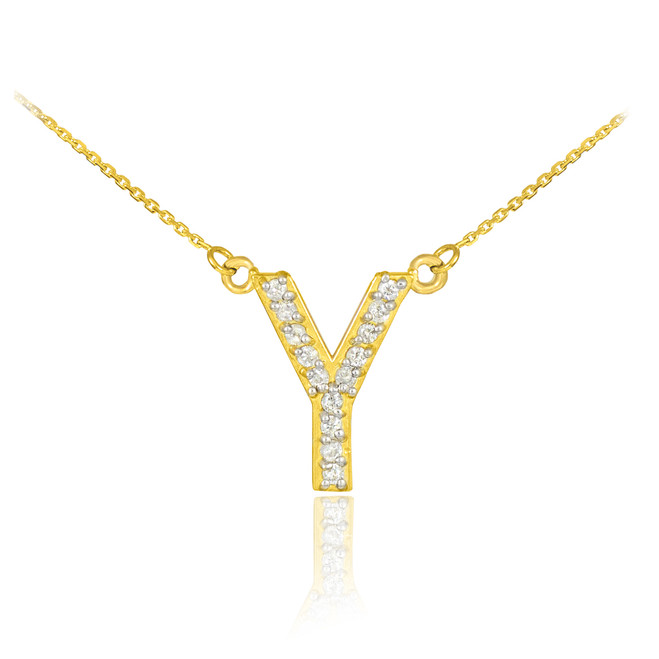 "14k Gold Letter ""Y"" Diamond Initial Necklace"