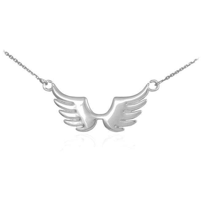 14k White Gold Angel Wings Necklace
