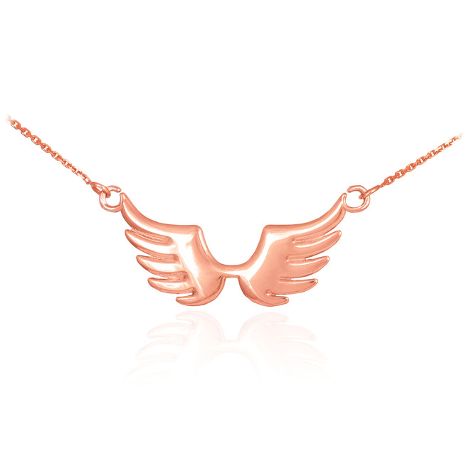 14k Rose Gold Angel Wings Necklace