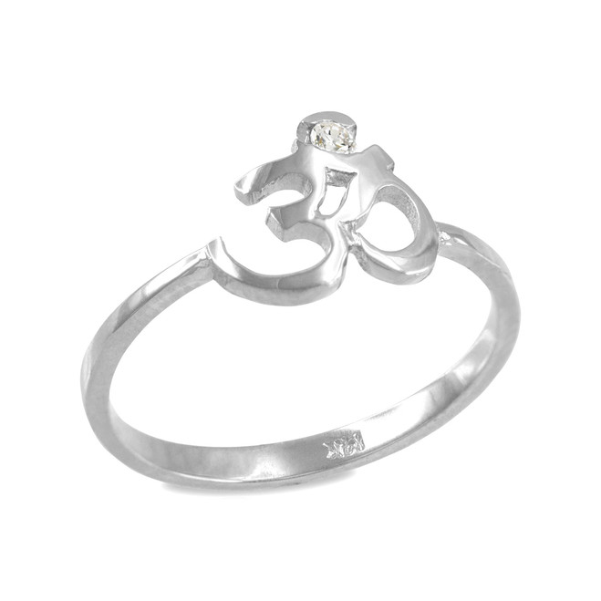 Dainty White Gold Om (aum) Diamond Ring