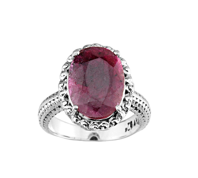 Silver Ladies Natural Indian Ruby Ring