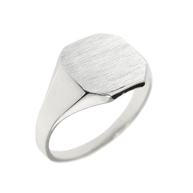 Sterling Silver Squared Corners Signet Men's Ring