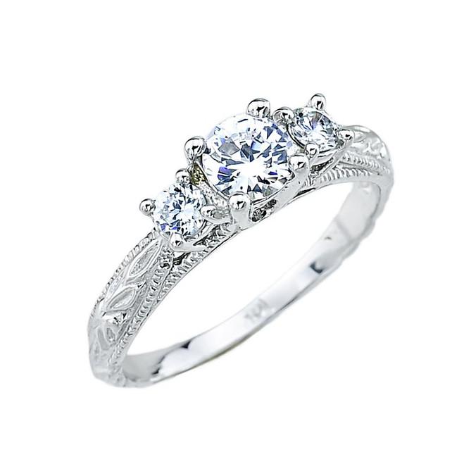 White Gold Art Deco 3 Stone CZ Engagement Ring