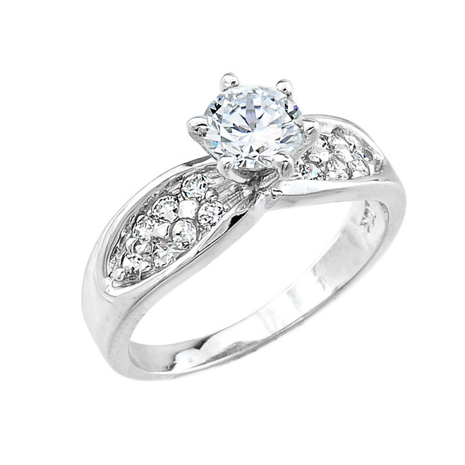 White Gold Micro Pave CZ Solitaire Engagement Ring