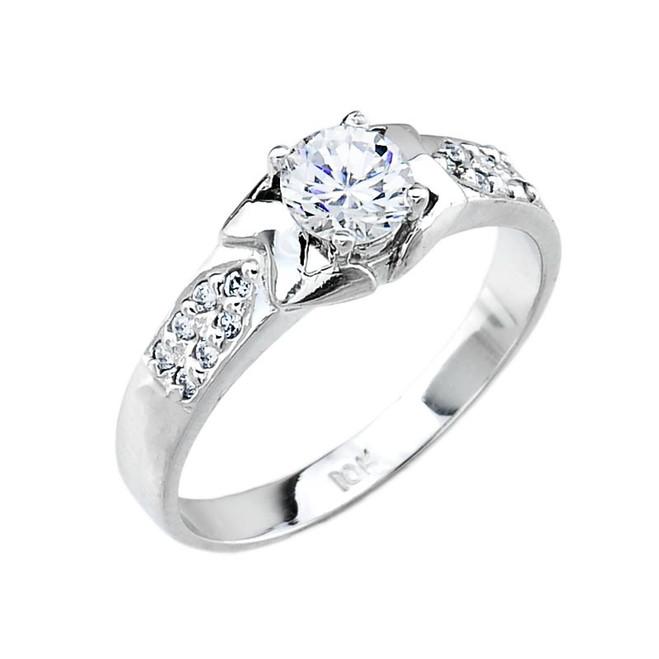 Ladies Micro Pave Cubic Zirconia Engagement Ring