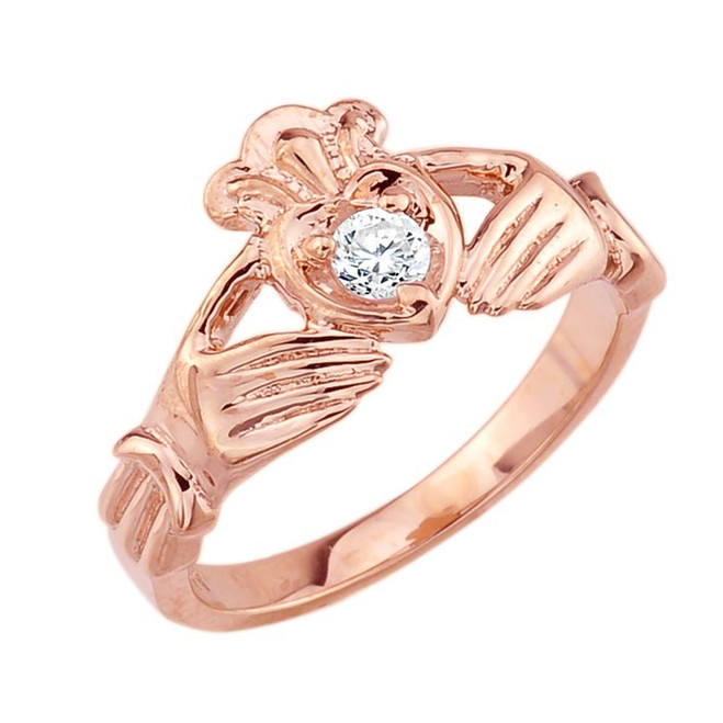 Rose Gold Diamond Claddagh Ring