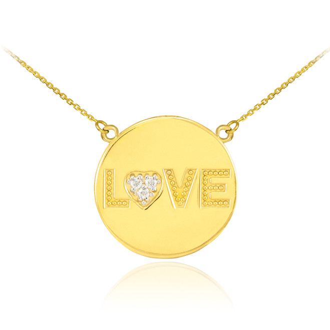 "14K Gold ""LOVE"" Script Diamond Disc Necklace"