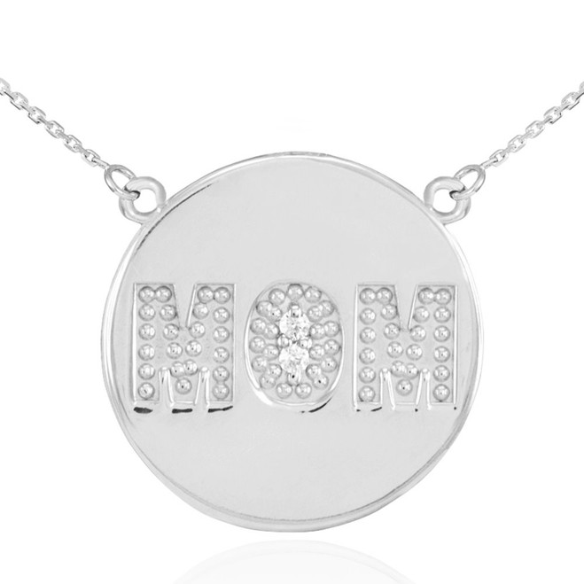 "14K White Gold ""MOM"" Script Diamond Disc Necklace"