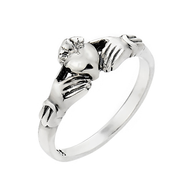 Solid Sterling Silver Ladies Claddagh Ring