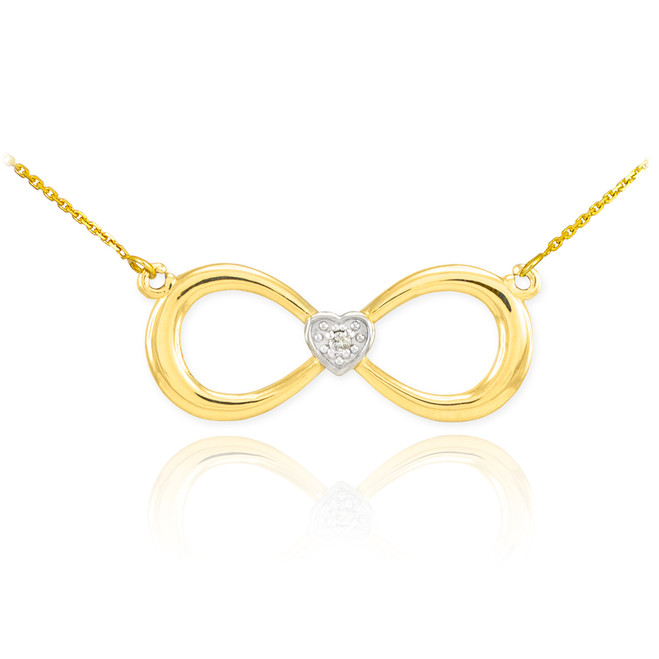 14K Gold Infinity Diamond Heart Necklace