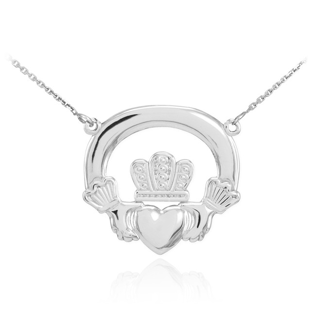 14k White Gold Claddagh Necklace