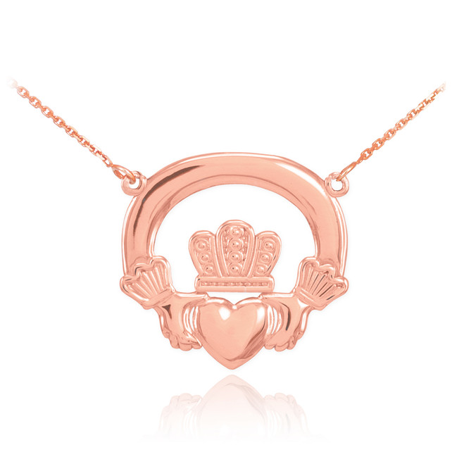 14K Rose Gold Classic Claddagh Necklace