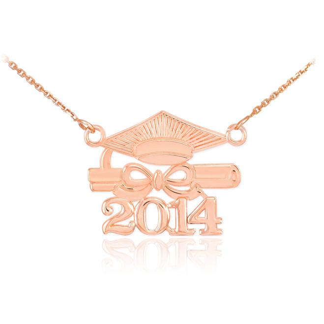 "14K Rose Gold ""CLASS OF 2014"" Graduation Pendant Necklace"