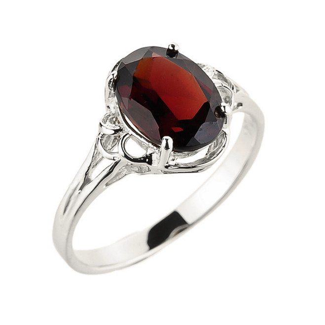 White Gold Ladies Genuine Garnet Gemstone Ring