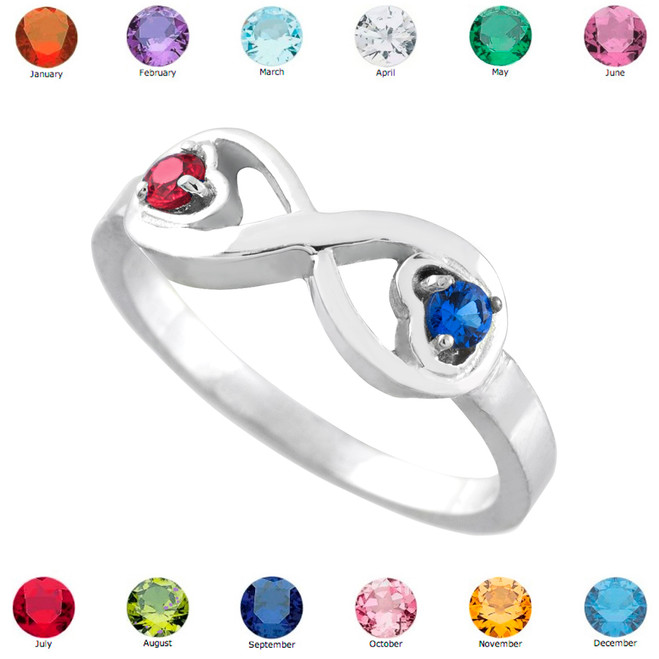 Sterling Silver Birthstone CZ Infinity Ring