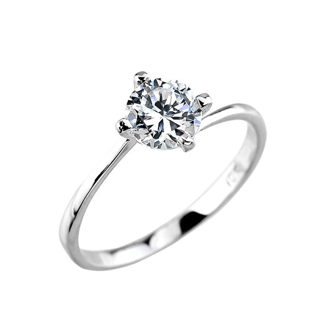10K White Gold Solitaire Engagement Ring