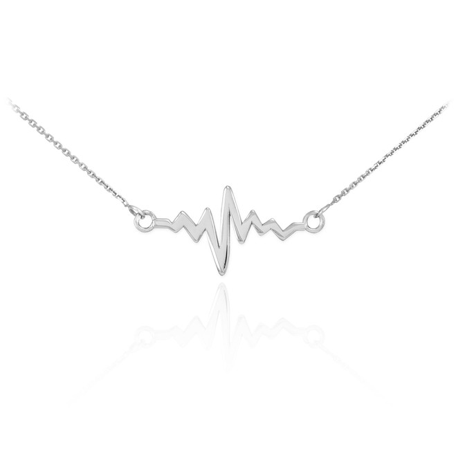 14K White Gold Heartbeat Necklace