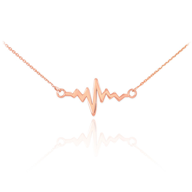 14K Rose Gold Heartbeat Necklace