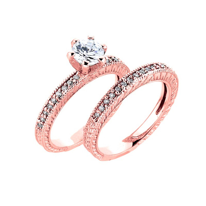 10k Rose Gold  Solitaire Engagement Ring with Matching Band
